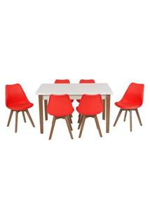 Conjunto Mesa De Jantar Luiza 135Cm Branca Com 6 Cadeiras Leda - Vermelho