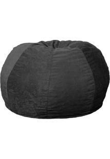 Puff Confort Maçã Suede Preto 100 Cm