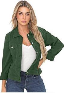 Jaqueta Bloom Color Sarja De Moletom Feminina - Feminino-Verde Escuro