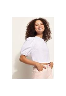Blusa Feminina Com Amarração Manga Bufante Decote Redondo Branca