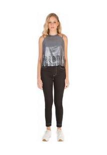 Blusa Decote Redondo Alca Transpassada Com Foil Jeans