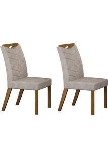 Conjunto Com 2 Cadeiras Verona Ipê E Pena Palha