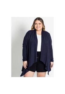 Cardigan Feminino Plus Size De Lurex Secret Glam Azul