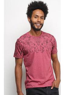 Camiseta All Free Floral Masculina - Masculino-Vermelho