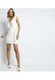 Vestido Drapeado Com Renda- Off White- Charrycharry
