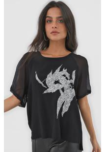 Camiseta Forum Estampada Preta - Preto - Feminino - Viscose - Dafiti