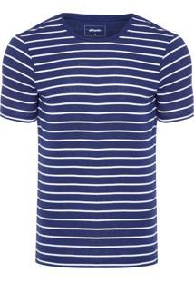 Camiseta Masculina Manga Curta - Azul E Branco