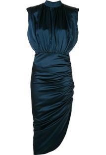 Veronica Beard Draped Asymmetric Midi Dress - Azul