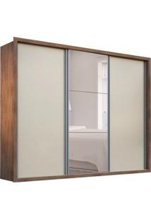 Guarda-Roupa Casal Com Espelho Natal 3 Pt Café E Off White