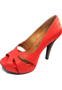 Sapato Peep Toe Cia Do Porto Cetim Vermelho