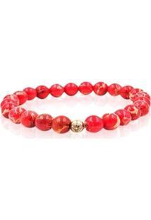 Pulseira W.Buscatti Red Imperial Jasper Stone Masculina - Masculino