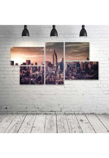 Quadro Decorativo - Empire-State-Retro - Composto De 5 Quadros - Multicolorido - Dafiti