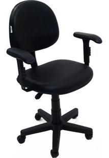 Cadeira Executiva Giratória Com Braço Regulável Em Tecido Solid - Preto