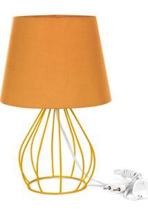 Abajur Cebola Dome Laranja Com Aramado Amarelo