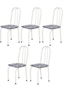 Cadeira Assento Reto 5 Peças 00101 Branco Cinza Floral Archeli
