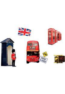 Adesivo De Parede Londres- Azul Escuro & Vermelho- 5Evolux