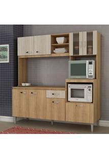 Cozinha Compacta Com Tampo 8 Portas 1 Gaveta Tati Fellicci Carvalho/Blanche
