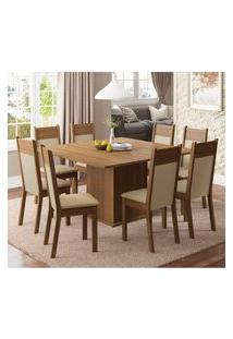 Conjunto Sala De Jantar Madesa Panamá Mesa Tampo De Madeira Com 8 Cadeiras Marrom