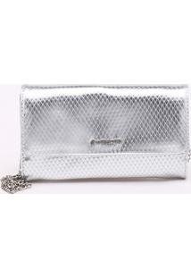 Bolsa Shoulder Bag Snake Metalizada Prata