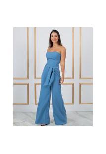 Calça Miss Misses Pantalona Com Faixa Azul