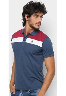 Camisa Polo Nyc Manga Curta Recortes Masculina - Masculino-Marinho