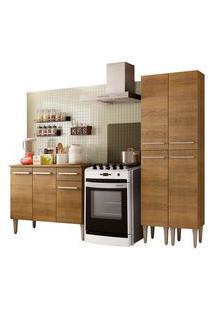 Cozinha Compacta Madesa Emilly Front Com Balcáo E Paneleiro Marrom