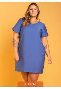 Vestido Luna Bolso Plus Size Azul