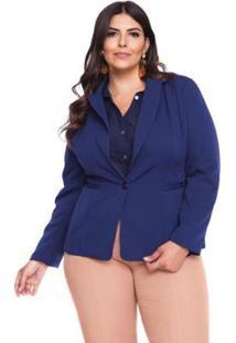 Blazer Almaria Plus Size Pianeta Alfaiataria Feminino - Feminino-Azul Escuro