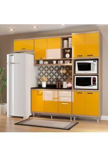 Cozinha Compacta Com Tampo 9 Portas 5829 Argila/Amarelo - Multimóveis