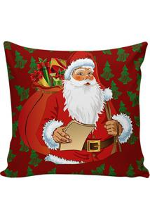 Capa Para Almofada Papai Noel- Vermelha & Verde Escuro