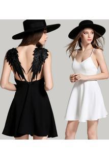 Vestido Asas De Anjo Branco/Preto