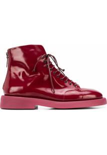 Marsèll Ankle Boot Com Amarração - Vermelho