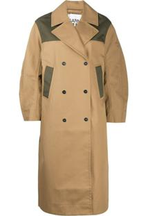 Ganni Trench Coat Color Block Oversized - Marrom