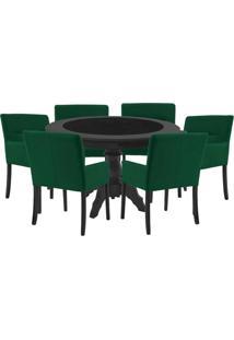 Mesa De Jogos Carteado Montreal Redonda Tampo Reversível Preto Com 6 Cadeiras Vicenza Verde - Gran Belo