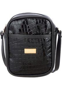 Bolsa Me Visto Transversal Shoulder Bag Verniz Croco - Unissex-Preto