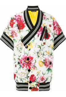 Dolce & Gabbana Jaqueta Floral Em Seda Mista - Colorido
