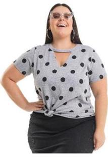Blusa Meia Malha Póa Miss Masy Plus Size - Feminino-Cinza
