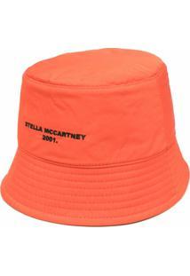 Stella Mccartney Chapéu Bucket Dupla Face Com Logo Bordado - Laranja