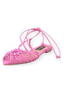 Sandalia Love Shoes Rasteira Bico Folha Amarração Tirinhas Rosa Bebê