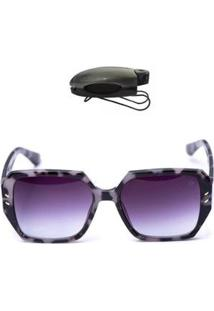 Kit Óculos De Sol Redondo + Porta Óculos Veicular Feminino - Feminino-Preto