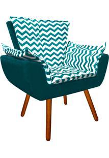 Poltrona Decorativa Opala Suede Composê Estampado Zig Zag Verde Tiffany D78 E Suede Azul Pavão - D'Rossi