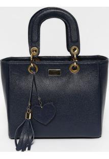 Bolsa Em Couro Com Bag Charm- Azul Marinho & Douradaanette