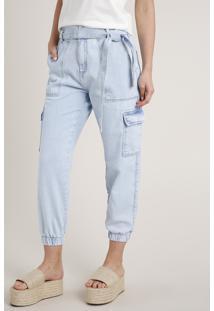 Calça Jeans Feminina Jogger Cargo Clochard Com Faixa Para Amarrar Azul Claro