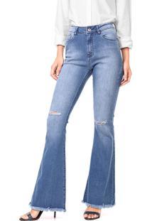Calça Jeans Mob Flare Destroyed Azul
