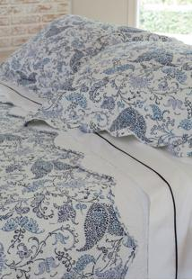 Colcha Com Porta Travesseiro Trapuntada Blossom Azul/Branca - Scavone