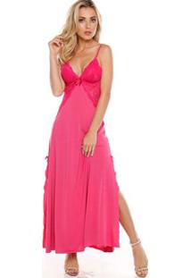 Camisola Longa Com Renda Kaus-50 - Feminino-Pink