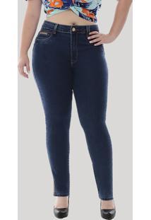 Calça Jeans Feminina Sawary Cigarrete Com Strass Plus Size Azul Escuro