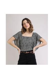 Blusa Feminina Estampada Animal Print Manga Ampla Decote Reto Off White