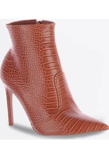 Bota Feminina Ankle Boot Textura Croco Salto Fino Zatz