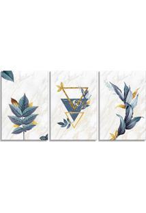 Quadro 60X120Cm Escandinavo Floral Argos Canvas Decoração